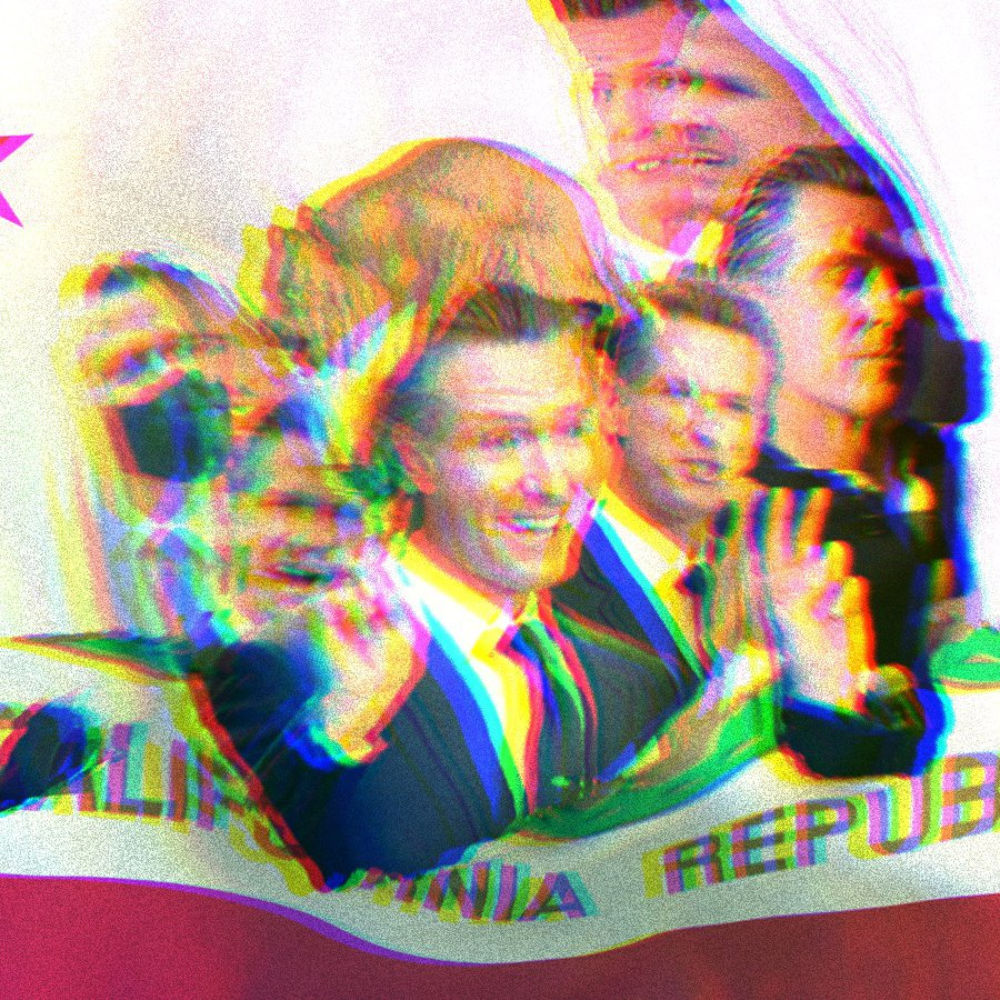 California Republic flag, ripped in the center. Inside the rip there is a composite collage of Governor Gavin Newsom