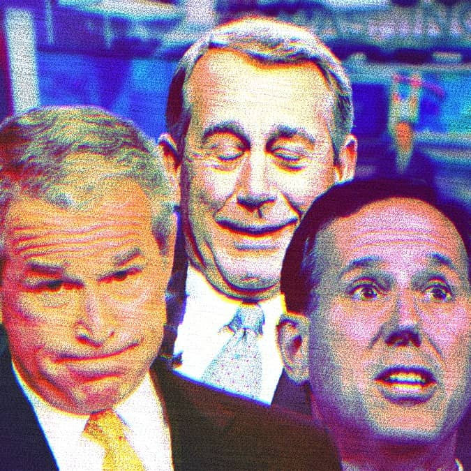 Composite photo of George W. Bush, John Boehner and Rick Santorum with the CNN studio in the background. All three are making dumb faces.