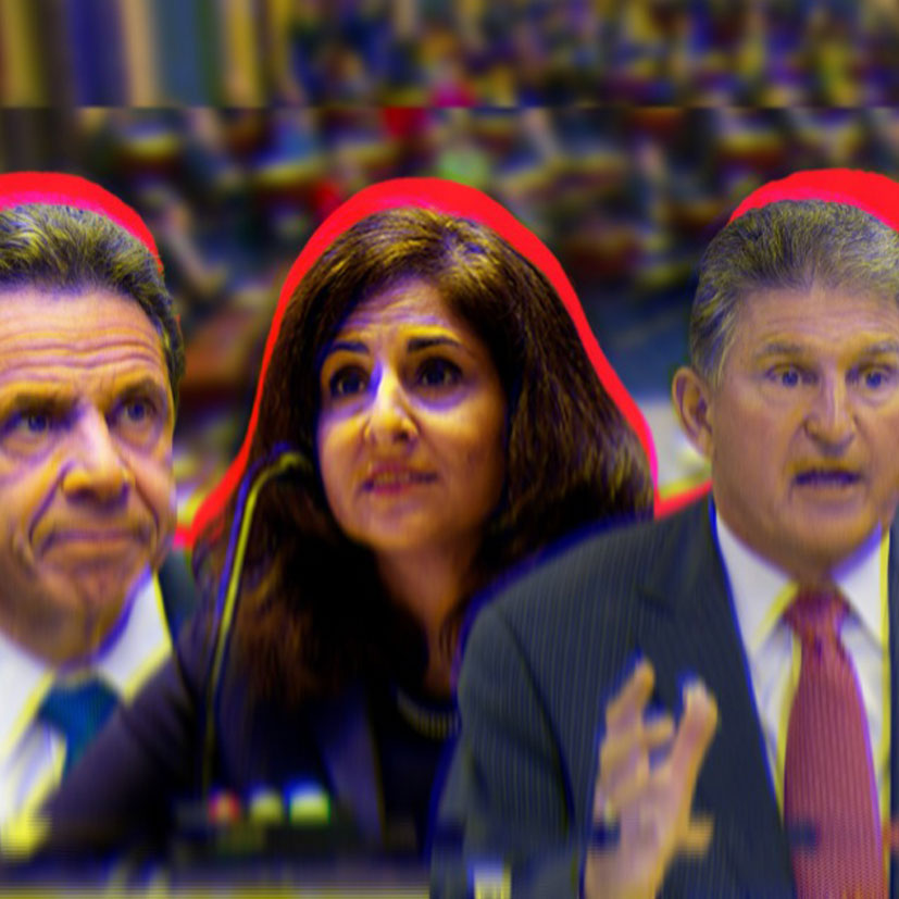 Cut out photos of Andrew Cuomo, Neera Tanden and Joe Manchin overlaid on a blurred background of Senate