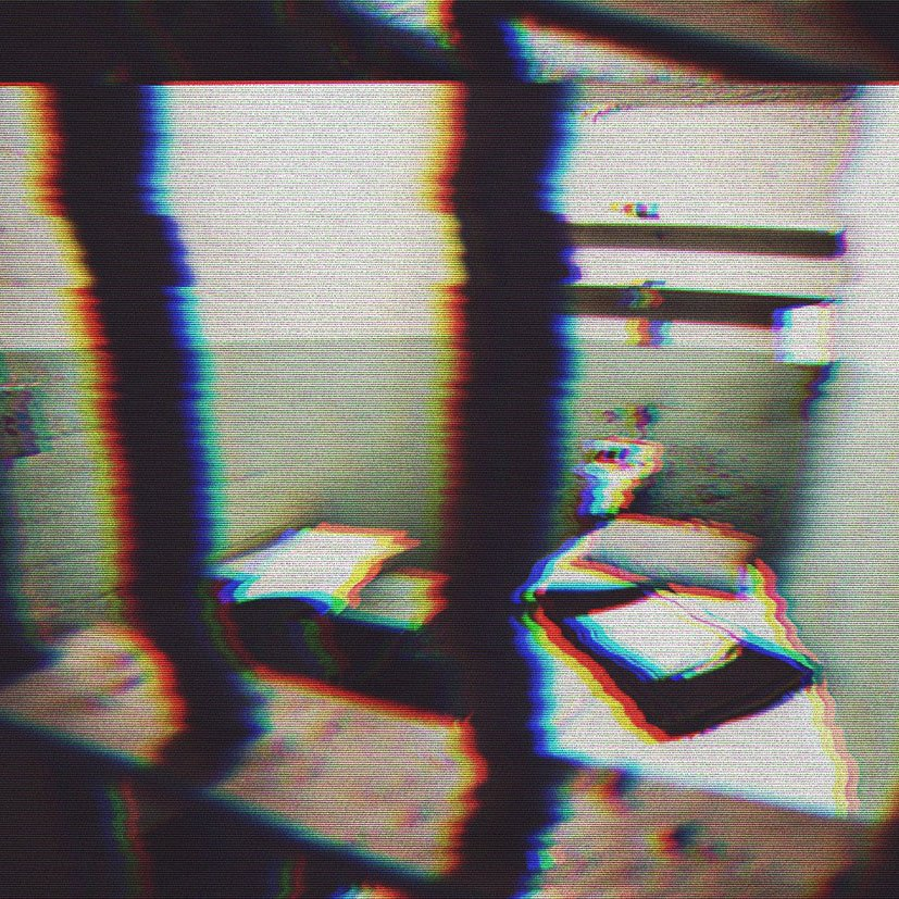 Distorted image of a jail cell.