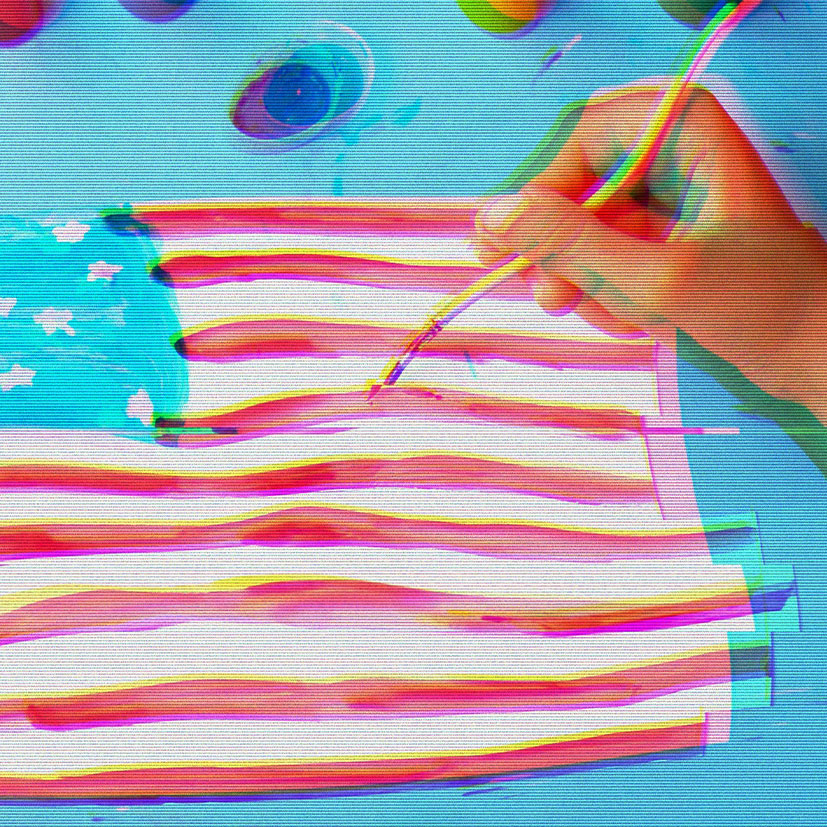 A child painting a picture of the American flag.