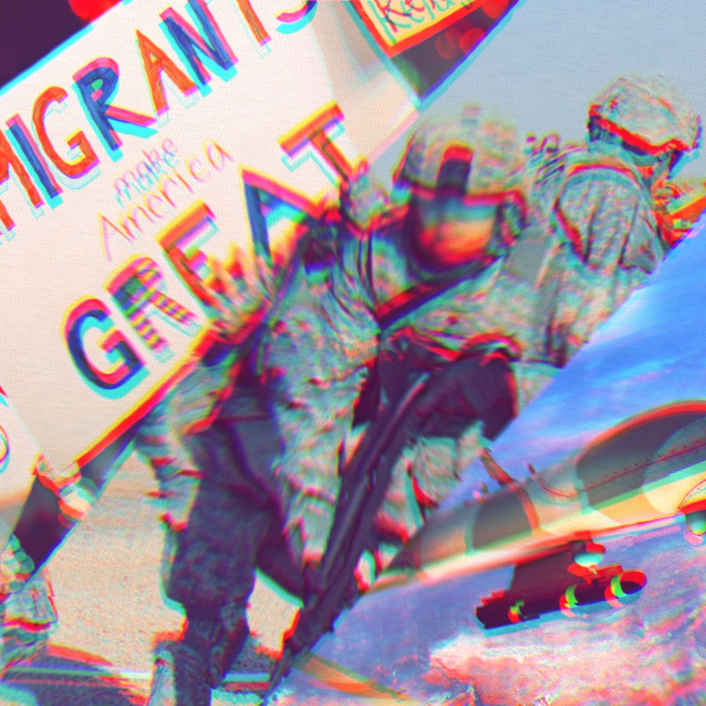 Image with three sections. Left section shows a protest sign that says immigrants make America great. Middle section shows soldiers shooting guns. Right section shows a drone dropping a missile.