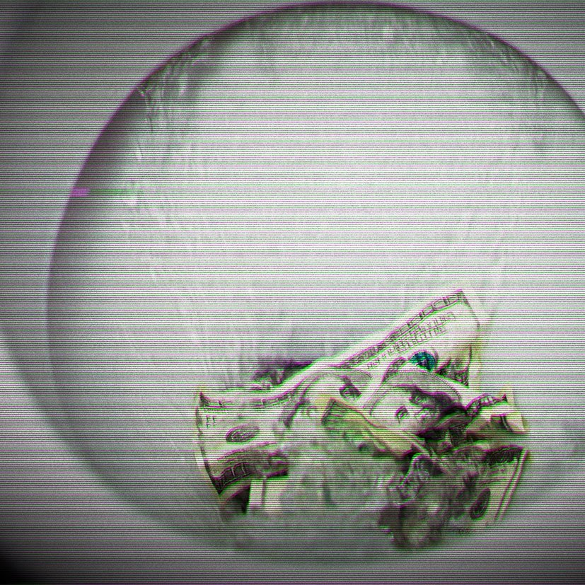 Money being flushed down the toilet.