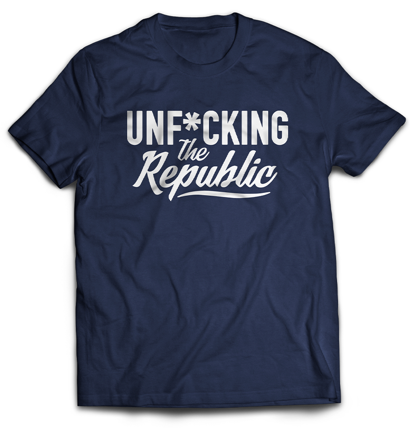 Navy T Shirt with White Unf*cking The Republic Logo