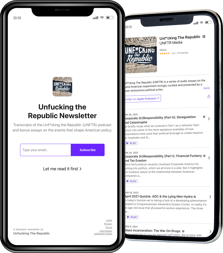 Screenshot of Unf*cking The Republic's Substack Newsletter on an iPhone.